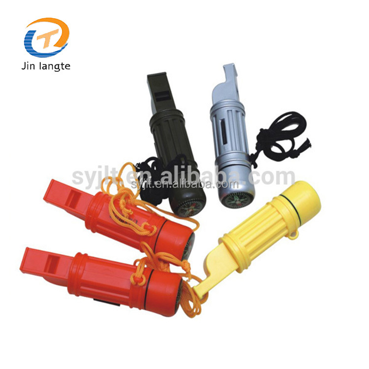 Outdoor camping plastic 5 in 1 emergency survival safety compass whistle