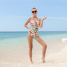 New collection girls fashion sexy cherry printed white swimsuit
