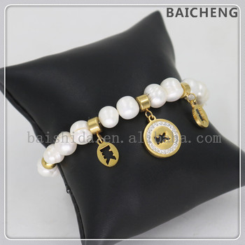 Elegance wedding beads bracelet Freshwater pearl bracelet Luxury stainless steel charms bracelet