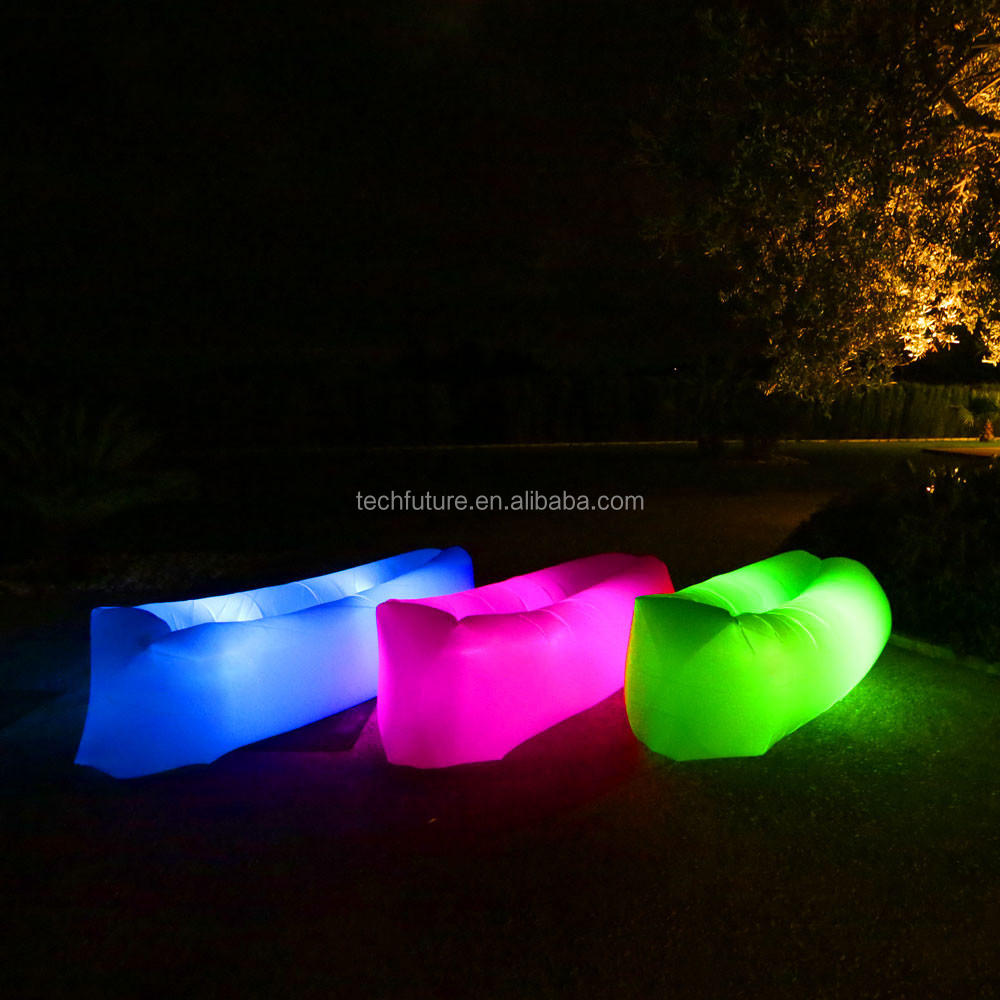 Banana shape bean bag led lighting camping laybag light kit inflatable laysack laybag