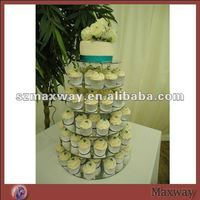Round 6 tiers modern perspex wedding cupcake display stand