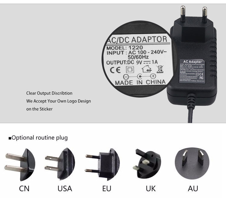 EU USA AU UK Plug wall mount adaptor AC100-240V DC 9W 9V 1A power adapter for electronic piano/router