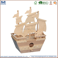 2015 china supplier decorative hand carved wooden ship model