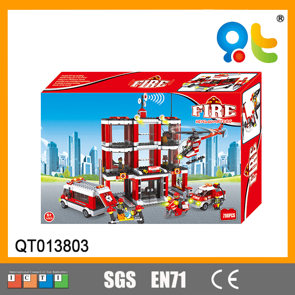 Fire Department building blocks big plastic building model fire control series car helicopter and firemen