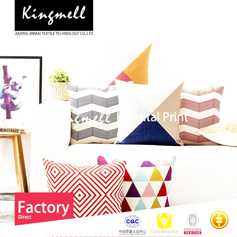 Custom Made High Quality Scandinavian modern sitting cushion geometric abstract colored lines pillow