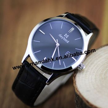 Fashion Design Daybird Gift Men Watch Durable Genuine Leather Men Brand Wristwatch,2 Colors Dia Luxury Men Sports Watch