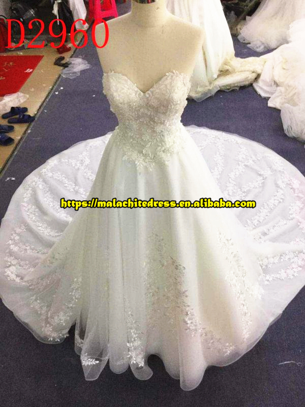 Robe De Mariage 2017 Pearls Beaded Sweetheart Ball Gown Lace Wedding Dresses