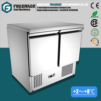 high quality static cooling 250L double door pizza prep table refrigerator with world brand compressor