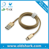 High quality metal shell nylon sleeving usb cable micro usb data charging cable for andriod smart phones
