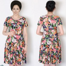 short sleeve flower print floral slim Ice silk cloth summer dress fashion dress