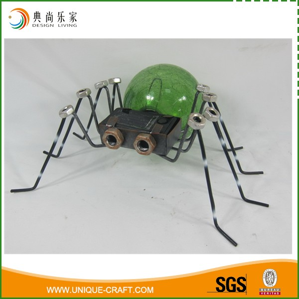 Wholesale Antique Metal And Glass Spider Halloween Decoration