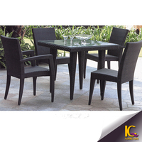 Luxurious Outdoor Cube Wicker Dining table and 4 chairs set