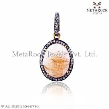 925 sterling silver golden rutile gemstone diamond pendant 925 sterling silver golden rutile gemstone diamond pendant supplier handmade pendant wholesale 14k aloadofball Gallery