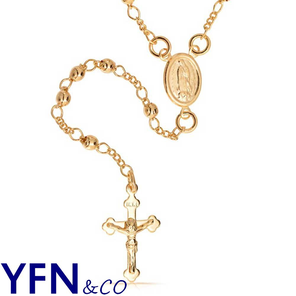 14K Gold Filled Rosary Beads Modern Virgin Mary Cross Necklace