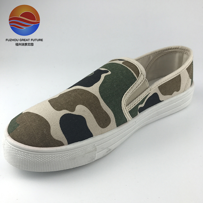 Hot-selling Camouflage Fabric Upper Casual Slip-on Women Shoes
