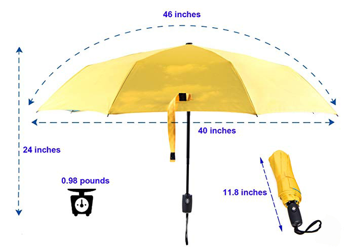 High Quality 42inch Print Inside Lightweight Auto Open Close Umbrella for Women & Men Multiple Colors