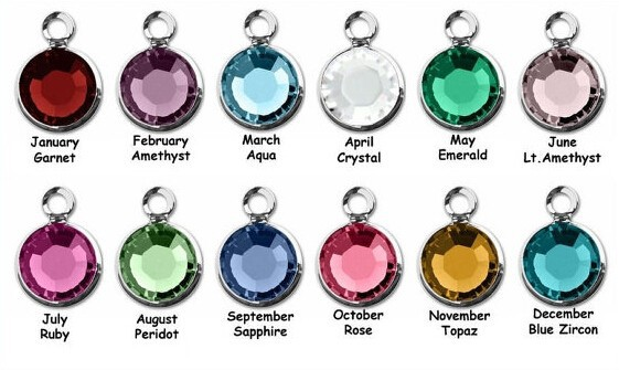 Fashion jewelry popular 12 month birthstone charms wholesale colorful birthstone charms