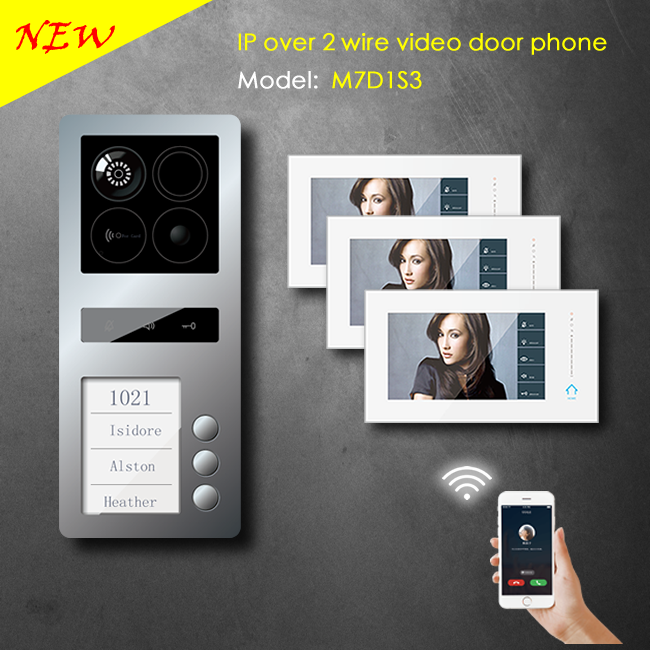3 family 2 wire IP video intercom based on android with wifi function for apartment / support smartphone APP