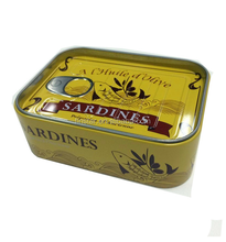 Small metal tin box packing 6 pcs stainless steel forks for sardines