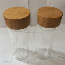 Cosmetic Glass jar with bamboo lids Tube bamboo / wood cap
