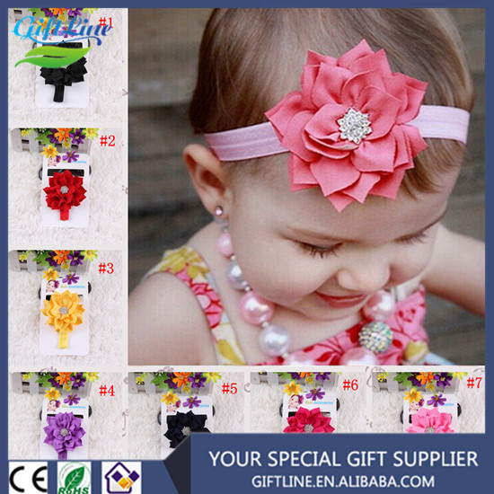 2017 Fashional Baby Headband With Big Doule Lotus Leaf Flower Baby Elastic Hairband