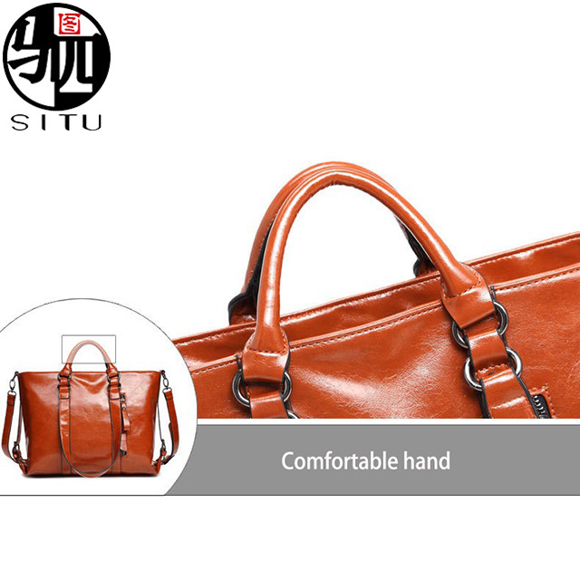 Fashion Brand oil wax leather Women Handbag Oil Wax Leather Shoulder Bag Casual Women Bag