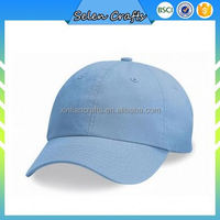 Cheap Customized Light Blue Cotton Plain Baseball Caps With Adjustable Velcro