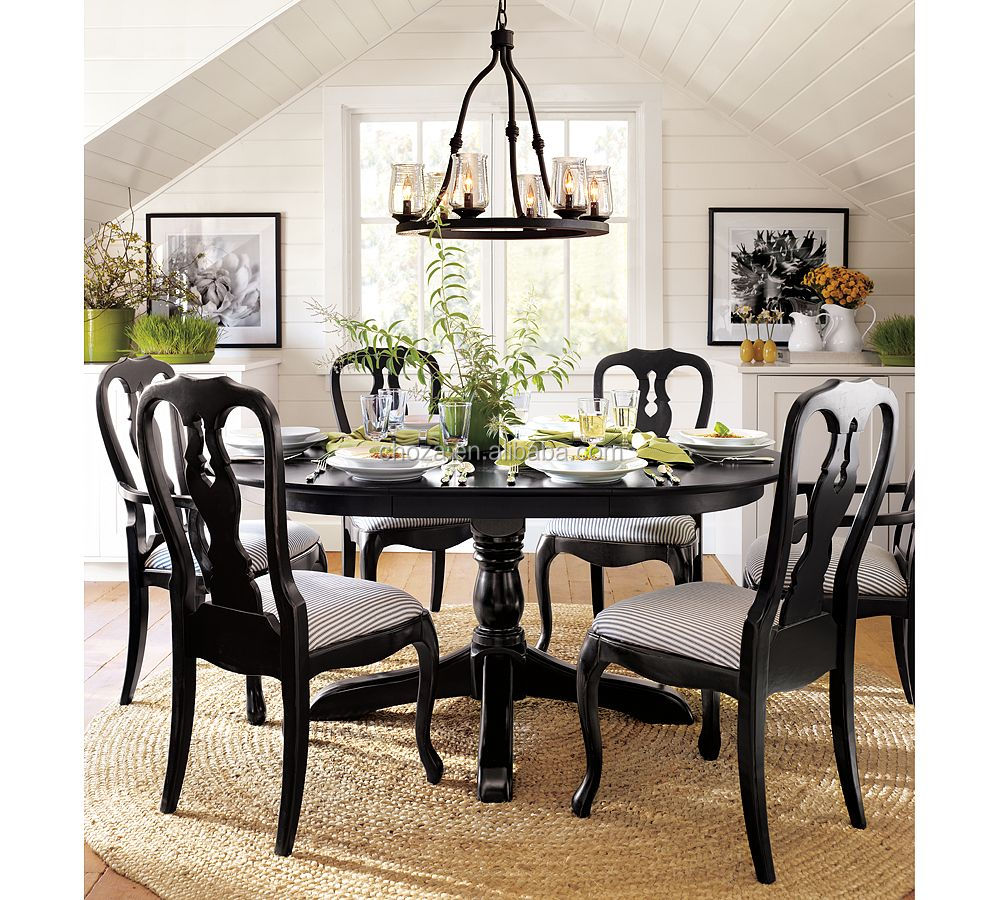F40419A-1 Fancy unique design round solid wood dining use kitchen table and chairs