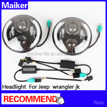 Led healight for jeep wrangler lights 4*4 auto parts from maiker Headlamp
