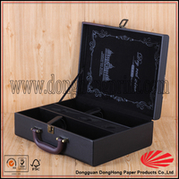 Black high-end wine box with accessories,wine carrying case