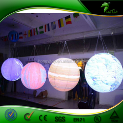 HD Digital Printing Hanging Solar LED Lights / Inflatable Planet Led Balloon Lighting