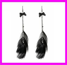 2017 Top sales silver chain black feather dangle bow earrings KDA4224