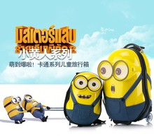 Kindergarten children suitcase trolley bag picture small yellow man suit board chassis luggage trolley (stock)