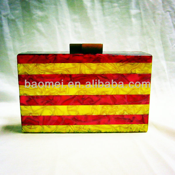 Wholesale red and yellow piece together evening clutch bag