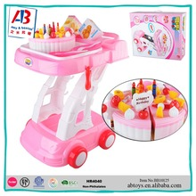 2016 New Product Kids DIY Toy Fake Birthday Cake Trolley Set