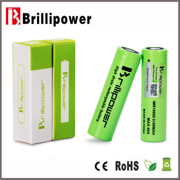 Li-ion rechargeable battery brillipower 18650 battery imr 18650 40a 3100mah rechargeable 3.7v cylinder lithium ion battery