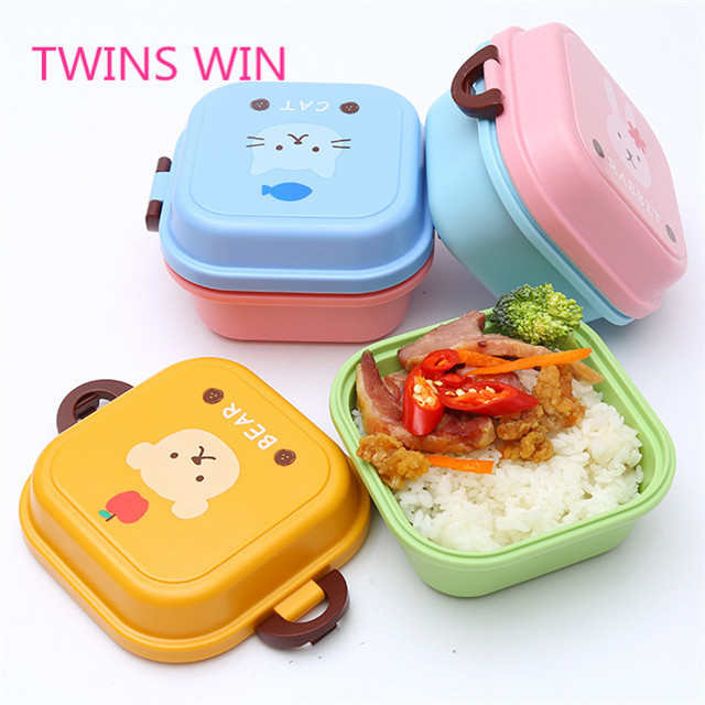 China popular selling cheapest kids cartoon cute animal design square shaped silicone bento box leak proof for lunch food  030