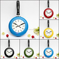 New Arrival Creating Stylish 8 Inch High Quality Metal Flying Pan Wall Clock Kitchen Home Office Cooking Quartz Hanging Design
