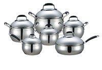 12pcs apple shape silicon handle stainless steel pots and pans
