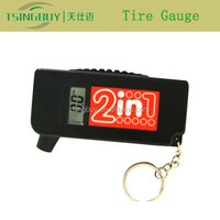 Special Style 2 in 1 digital tire gauge keychain with tire pressure and tread depth measurement