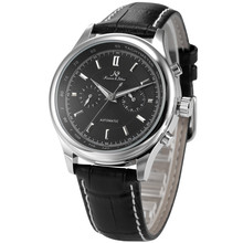 KS Men's Day & 24 Hours Display Black Leather Band Menchanical Wrist Watches