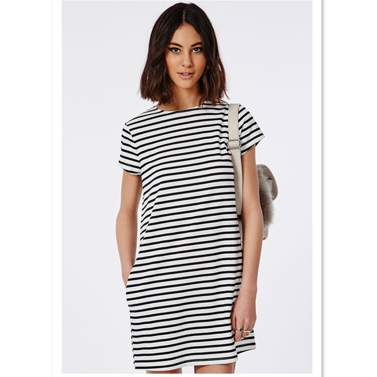 Boxy Womens Stripe T Shirt Dress In Bulk