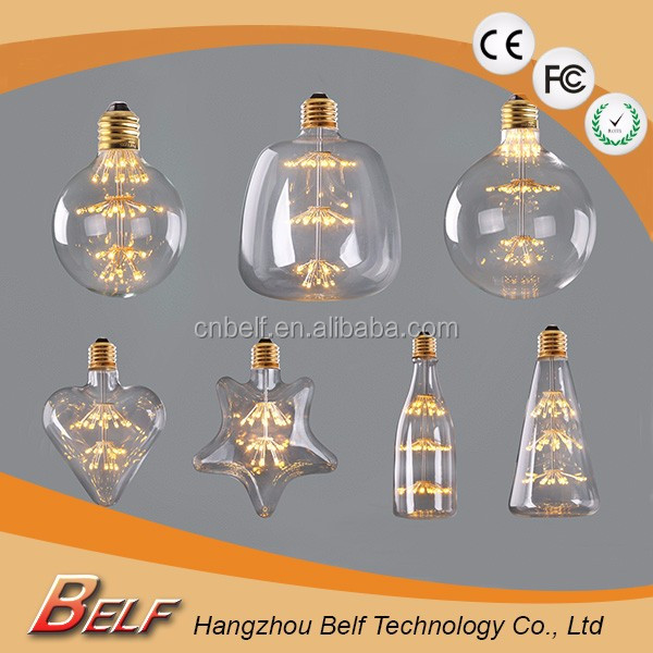 G80 220V Decorative Edison edison star shape Bulb Light