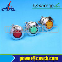220v Dot illuminated amber color fluorescent lamp 8mm metal material indicator and pilot light