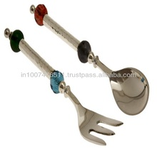 Stainless Steel Hand Made Beaded Serving Spoon