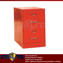 Red 2 drawer iron a4 size files storage box / red used double tiers metal kids small drawer cupboard