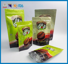 250g Plastic Stand Up Roasted Ground Ziplock Coffee Bean Packaging Bags With Valve