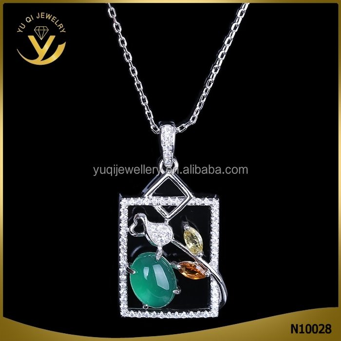 Steampunk Casual Square Emerald And Zirconia Copper BRASS NECKLACE For Lady