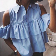 B12212A Europea women frills off shoulder chiffon blouse lady fashion shirts