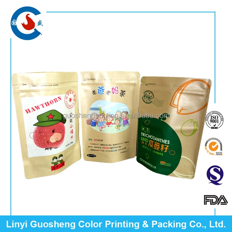 Customized printing kraft paper stand up pouch with zipper